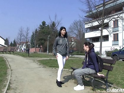 Two super cute teen girls explore their pussies with fingers