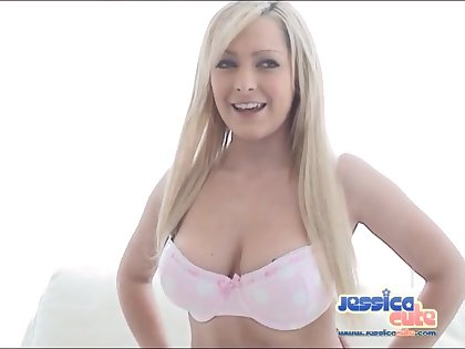 Blonde babes with long hair masturbating shaved pussy with toys as she cuddles soggy soft big tits