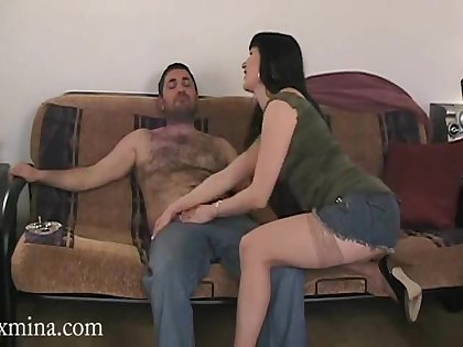 Matured brunette in miniskirt giving out blowjob then getting screwed doggy style