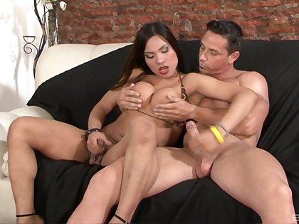 Pretty tranny adores to fuck badly her horny boyfriend until both cum