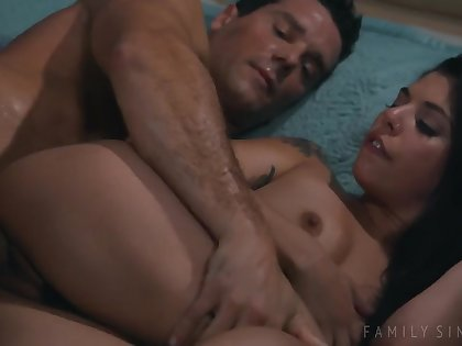 Stepdaughters Gina Valentina Fucks Daddy On The Bed