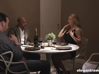 Two married couples are having crazy sex fun after dinner