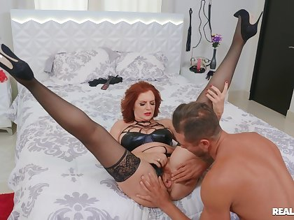 Redhead busty model Andi James gets fucked balls unfathomable cavity on the bed