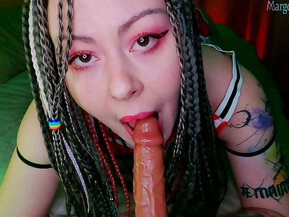 Pretty Teen Strongly Jerks Her Tight Vagina With A Big R