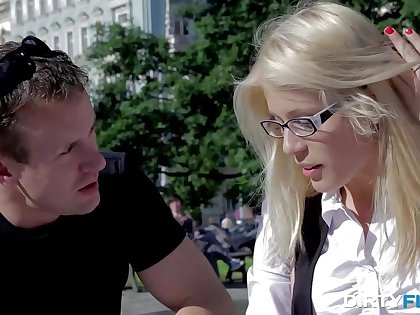 Nerdy blonde in glasses gets messy facial check d cash in one's checks sex with stranger guy
