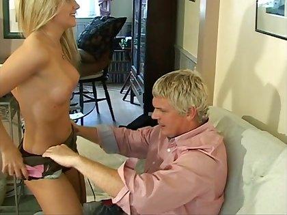 Lifelike lovemaking with blonde award wife Barrbie on the sofa