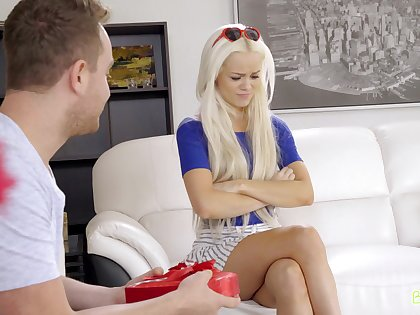 Blondie sits on advise of compare arrive trying to engulf the cock very many generation