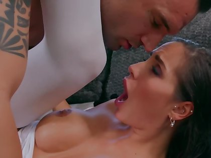 MILF in white stockings enjoys passionate lovemaking