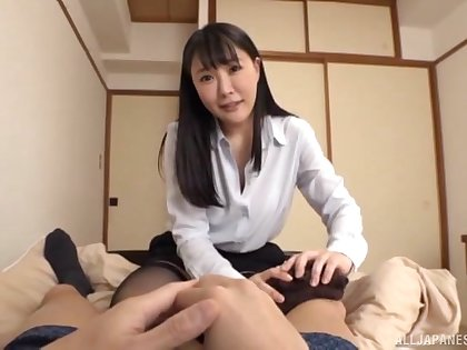 Natural boobs Japanese chick moans while getting fucked good